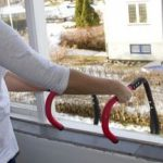 image shows emergency escape ladder hooked over windowsill
