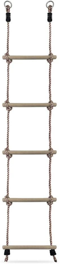 rope ladder with 5 wooden rungs and metal hooks